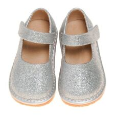 Girl's Leather Toddler  Sparkle Silver  Mary Jane Squeaky Shoes