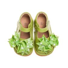 Girl's Toddler Leather Green Clip On Squeaky Shoes Sizes 1,2,3,4 and 6