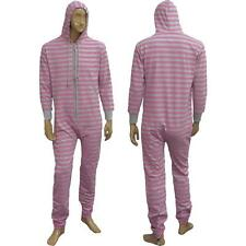 New Mens Stripe Print Hooded Warm All In One Onesie Playsuit Jumpsuit Sizes S-L