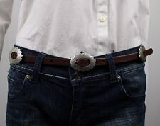 Ralph Lauren Womens Brown Leather Belt w/ Silver Concho Buckle NWT