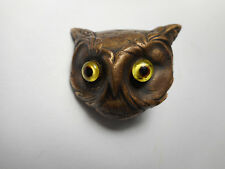 Realistic Brass Owl w/ Yellow Glass Eyes Antique Vintage Button 1-1/4""
