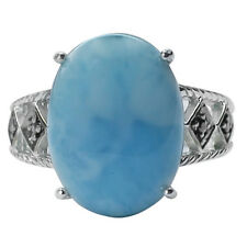 Larimar,Black Spinel  in 925 Sterling Silver Solitaire with Accents Ring GSR540