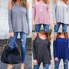 Women Ladies Long Sleeve Off Shoulder T Shirts Blouse Casual Loose Tops Solid