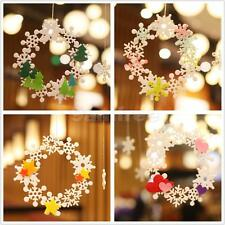 Christmas Snoflake Heart Star Felt Wreath Xmas Tree Decorations Hanging Ornament