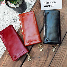 Black Red Yellow Color Womens Soft Leather Trifold PU Long Wallet  Purse