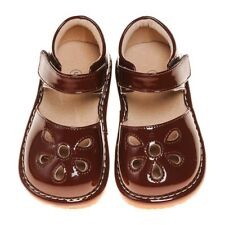 Girl's Leather Toddler Brown Petal Patent Style Squeaky Shoes Sizes 1 to 7
