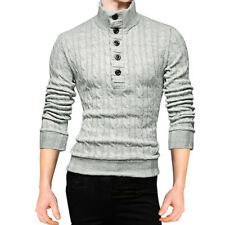 Men Turtle Neck Long Sleeves Button Upper Cable Knitted Sweater