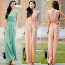 Sleeveless Chiffon Split Womens Wide Leg Jumpsuit Overalls Trousers Pants Pocket