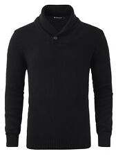 Men Shawl Collar One Button Point Long Sleeves Sweater