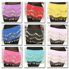 Belly Dance Costume Tribal Bead Hip Scarf Elastic Belt Wrap Chiffon Mini Skirt