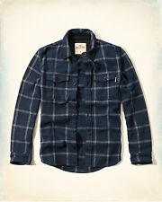 NWT Hollister-Abercrombie Textured Flannel Shirt Jacket Thick Cotton Navy Plaid