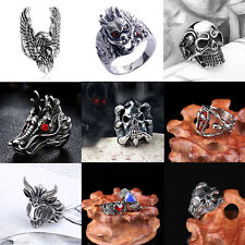 Multi Styles Stainless Steel Silver Gothic Punk Skull Cool Finger Rings Jewelry