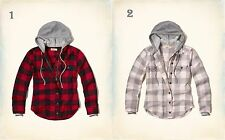 NWT Hollister by Abercrombie&Fitch Hooded Flannel Shirt Jacket Plaid Cotton XS/S