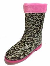 Little Girls Youth Leopard / Jaguar Animal Print Rain Snow Boots w/ Great Lining
