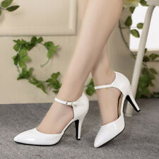 Elegant Lady Solid Sandals Ankle Strap Buckle Pointed Toe Women Shoes Mid Heels