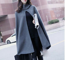 Fashion Women's Wool Blend Jacket Hooded Trench Parka Cape Outerwear Windbreaker