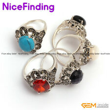 Fashion Women Jewelry Gemstone Enternal Rings Energy Healing Tibetan Silver Gift