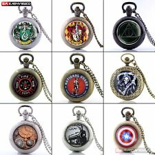 Steampunk Retro Quartz Necklace Vintage Pocket Watch Chain Antique Bronze Gift
