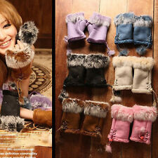 Fashion Warm Women's Fingerless Winter Bandage Suede+Rabbit Fur Gloves Mittens