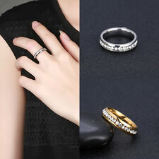 Fashion 1Pc Women Stainless Steel Rings Crystal Rhinestone Circle Ring Jewelry