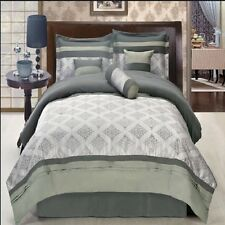 Queen Thomasville 11PC 100% Microfiber Bedding Set with Off White 4PC Sheet Set
