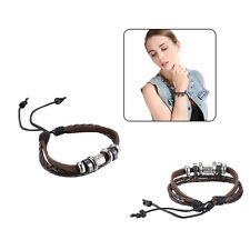 Bohemia Tribal Ethnic Beaded Genuine Leather Braided Twisted Wristband Bracelet
