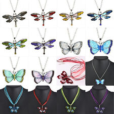 2016 New Design Enamel Butterfly Dragonfly Crystal Silver Pendant Chain Necklace
