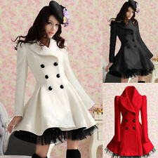Women Girl slim wool blend trench warm coat dress jacket double breasted fashion