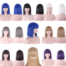 Women Club Cosplay Straight Bobo Haircut Neat Bangs Cleopatra Full Hair Wigs