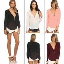 Deep V-neck Chiffon Long Sleeve Women's Blouse Shirt Tops Exposed Zipper Casual