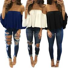 Sexy Women Chiffon Blouse Solid Off Shoulder Loose Tops Shirt Party Club P2I5