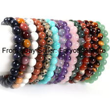 "8.5"" Mixed Natural Gemstone 6mm Round 36 Pcs Beads Stretchy Jewelry Bracelt"