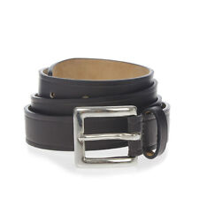 DSQUARED2 D2 new Man dark brown Leather brass buckle belt Made in italy