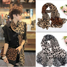 Womens Leopard Chiffon Silk Soft Long Neck Scarf Shawl Scarves Stoles Wraps t011