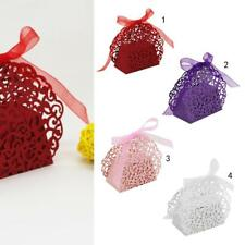 20PCS Floral Laser Cut Gift Candy Boxes w/ Ribbon Wedding Party Favor You PICK