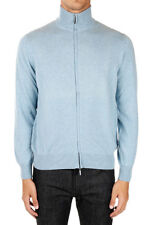 CRUCIANI New Men Light Blue Cashmere Zip Turtle Neck Cardigan Sweater Made Italy