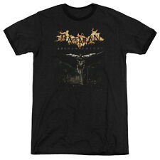 Batman Arkham Knight City Watch Mens Adult Heather Ringer Shirt Black