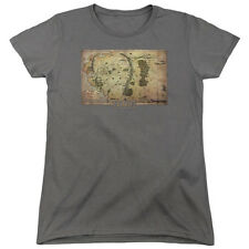 The Hobbit Middle Earth Map Womens Short Sleeve Shirt Charcoal