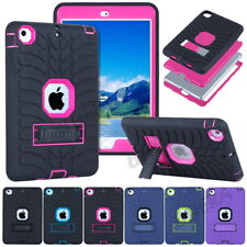 Rugged Tyre Silicone PC Shockproof Heavy Duty Hybrid Case + Kickstand For iPad