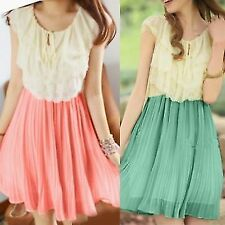 Cute Tiered Flouncing Hollow Out Flower Pleated Womens Chiffon Mini Dress Tunic