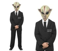 Alien Agent Costume Boys Halloween Fancy Dress Outfit Ages 4-12 Years