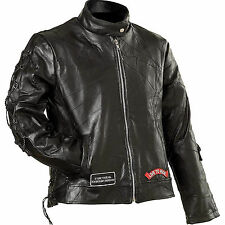 Ladies' Black Motorcycle Jacket Genuine Buffalo Leather by Diamond Plate™ NEW