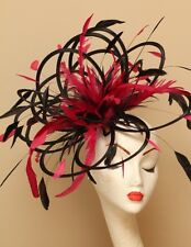 Large Black & Hot Pink Magenta Fascinator hat/choose any colour satin/ feathers