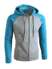 Men Drawstring Zip Up Color Block Slant Pockets Fleece Lined Hoodie