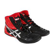 Asics Split Second 9 Mens Red Black Synthetic Athletic Lace Up Wrestling Shoes
