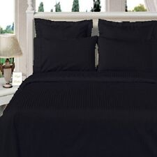 8PC Microfiber Stripe Black Bed in a Bag Set -Duvet Set-Sheets & White Comforter