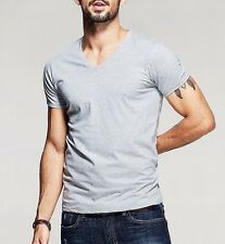 Mens T-Shirt Cotton High Elasticity V-Neck Slim Fitted Basic Tee S-XXL 6 Colors