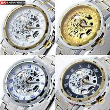 Luxury Mechanical Stainless Steel Analog Steampunk Mens Wrist Watch Skeleton New