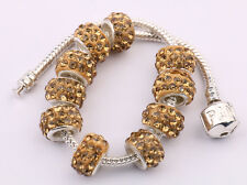 5/20Pcs New Big Hole Rhinestone Golden Plated Metal Loose Spacer Beads Findings
