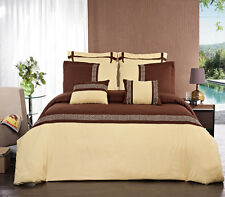 12PC Astrid Gold/Chocolate Bed in a Bag Set- Duvet Set-Sheets & White Comforter